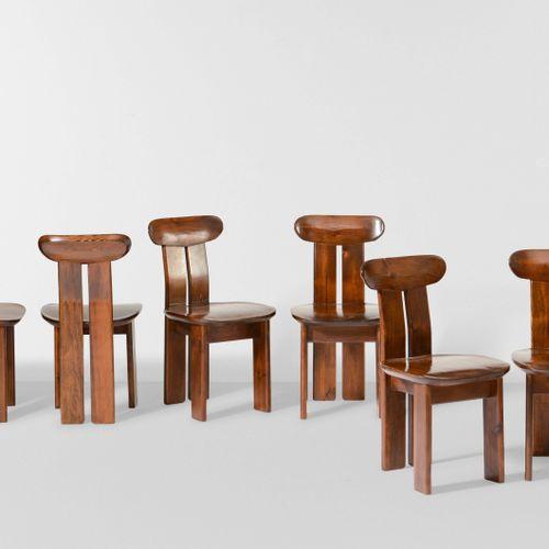 Sei sedie con struttura in legno e rivestimento in pelle., Prod. Italia, 1970 ca…