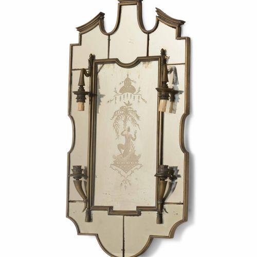 Specchiera luminosa in vetro e vetro serigrafato con struttura in ottone., 意大利制造…