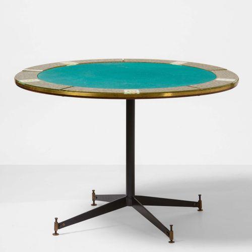 Santambrogio e De Berti, Raro tavolo da gioco con struttura in metallo laccato e…