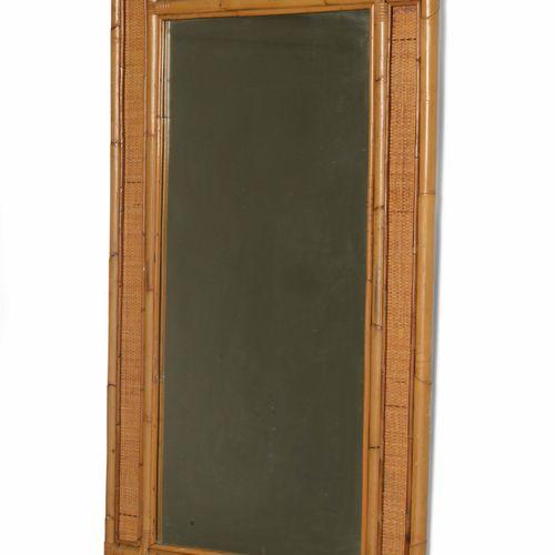 Vivai del Sud, Miroir mural avec cadre en osier et jonc et verre miroir. Fabriqu…
