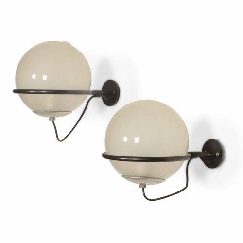 Gino Sarfatti, 238/1型壁灯一对,漆面金属和铝结构,玻璃扩散器。意大利Arteluce公司出品,1952年,20x20x30厘米