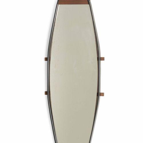 Specchio da parete con struttura in metallo laccato, legno e cristallo specchiat…