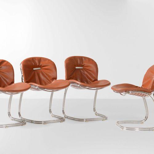 Gastone Rinaldi, Quattro sedie mod. Sabrina con struttura in metallo cromato e r…