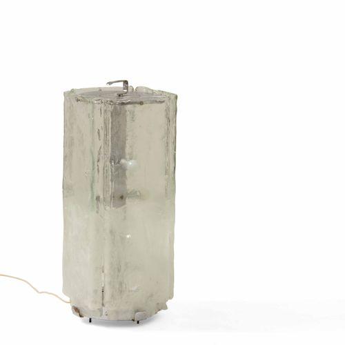 Lampada da terra in vetro di Murano e metallo., Prod. Italia, 1970 ca. Cm 35x35x…