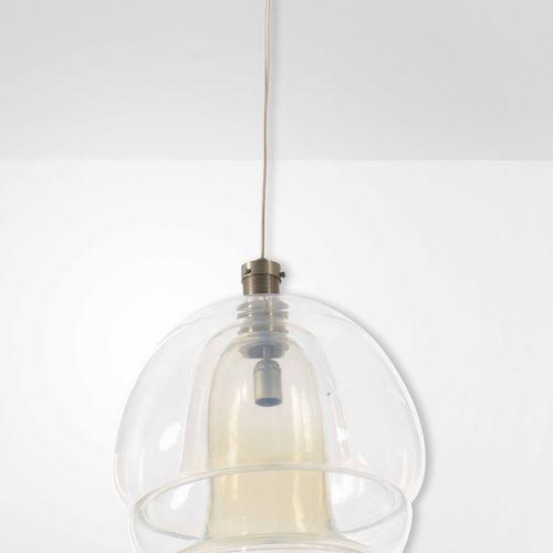 Lampada a sospensione in vetro di Murano e struttura in metallo., Prod. Italie, …