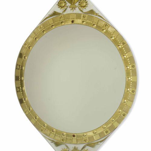 Cristal Art, Specchiera con struttura in legno e ottone. Prod. Cristal Art, Ital…