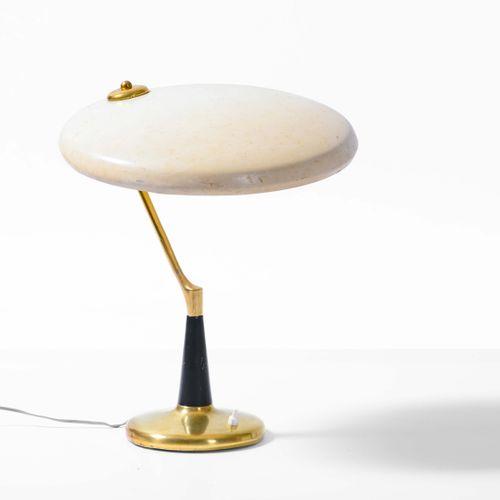 Oscar Torlasco, Lampe de table avec structure en laiton et métal laqué, diffuseu…