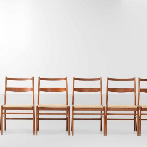 Nils Jonsson, 六把椅子,木质框架和织物覆盖。 意大利制造,约1960年,cm 50x45x82