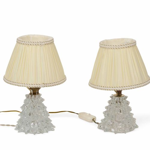 Barovier e Toso, Coppia di lampade da tavolo con base in vetro di Murano rostrat…