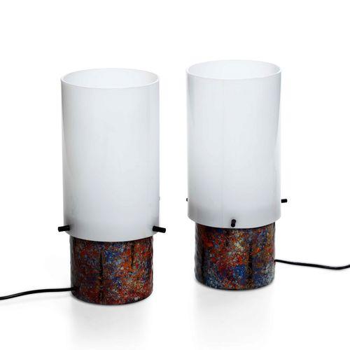 Angelo Brotto, Coppia di lampade da tavolo con base in rame smaltato, dettagli i…