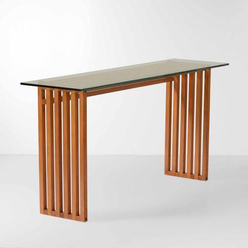 Lella e Massimo Vignelli, Ara控制台的木质框架和地面玻璃面板。制造商Driade,意大利,1974 cm 150x40x73