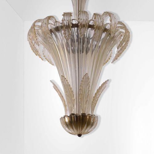 Archimede Seguso, Grande suspension avec structure en métal, verre de Murano et …