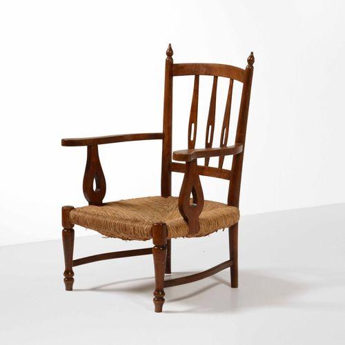 Paolo Buffa, Poltrona con struttura in legno e seduta in paglia intrecciata. Pro…