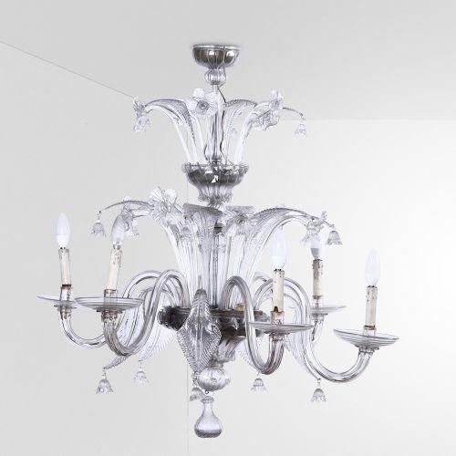 Lampada a sospensione con struttura in metallo ed elementi diffusori in vetro di…