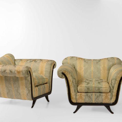 Guglielmo Ulrich (nello stile di), Paire de fauteuils avec structure en bois et …