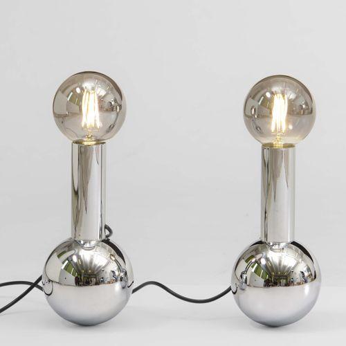 Coppia di lampade da tavolo con struttura in metallo cromato., 意大利制造,1970年,约14x2…