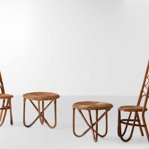 Coppia di sedie e due tavoli bassi in vimini e bambù., 意大利,1960年 约40x35x113厘米