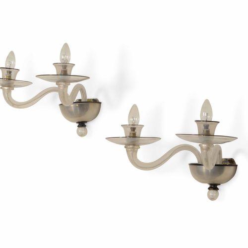 MVM Cappellin, Coppia di appliques con struttura in metallo e vetro di Murano. P…