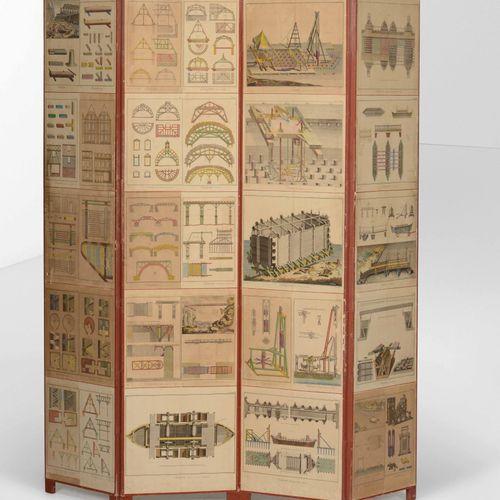 Paravento in legno con decori serigrafati., Prod. Italie, ca. 1960, cm 184x200