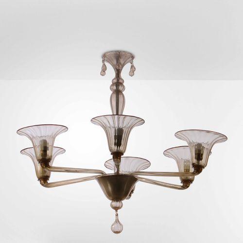 Lampada a sospensione con struttura in metallo e vetro di Murano., Prod. Italia,…