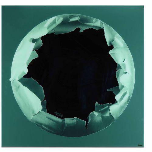 Ugo Nespolo, Specchio a parete in vetro serigrafato e vetro specchiato. Etichett…