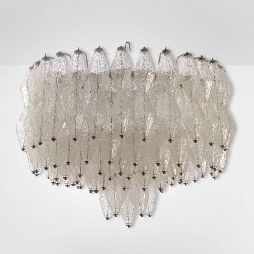 Lampada a plafone con struttura in metallo ed elementi diffusori in vetro di Mur…