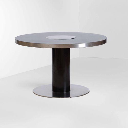 Willy Rizzo, 圆桌,型号:TP UNOPIEDI,结构为漆面金属、钢和复合板。意大利Willy Rizzo工作室制造,1970年,约120x72厘米