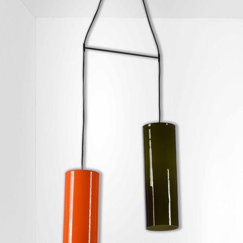 Lampada a sospensione con diffusori in vetro colorato incamiciato., 意大利,约1960cm …