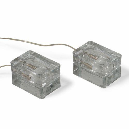Fidenza Vetraria, 一对模制玻璃台灯。意大利Fidenza Vetraria公司出品,约1970年 cm 14x10 cm 14x10x9