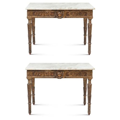 Pair of giltwood consoles Tuscany, late 18th century 86x114x56 cm. Applications …