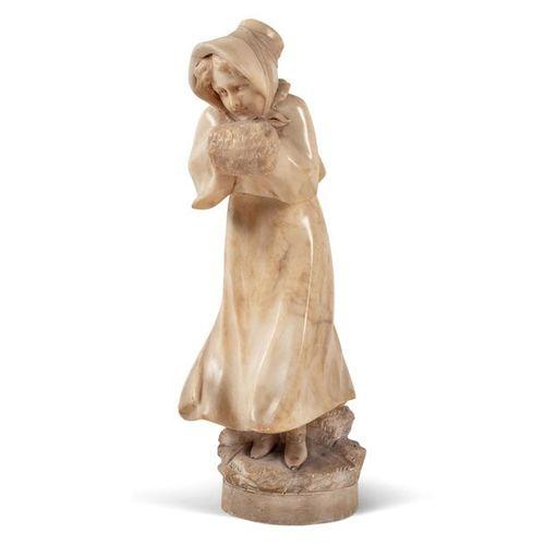 Italian sculpture 19th century h. 37 cm. Sculpture en albâtre représentant une j…