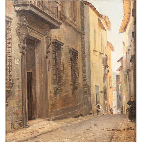 """Roman painter 19th Century 31x28,5 cm. """"Glimpse of the alley"""" , huile sur carton…"""