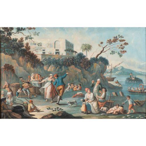"""Roman school 19th century 51x81 cm.V """"Scène de fête populaire avec des personnag…"""