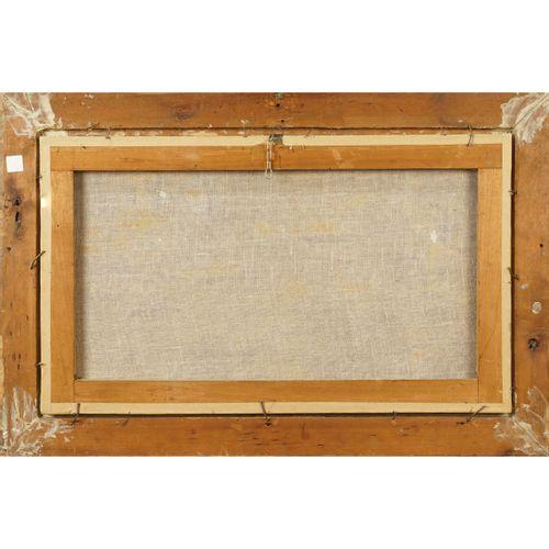 """Roman painter 19th century 36x61 cm. """"Vue de l'île du Tibre"""", huile sur toile, s…"""