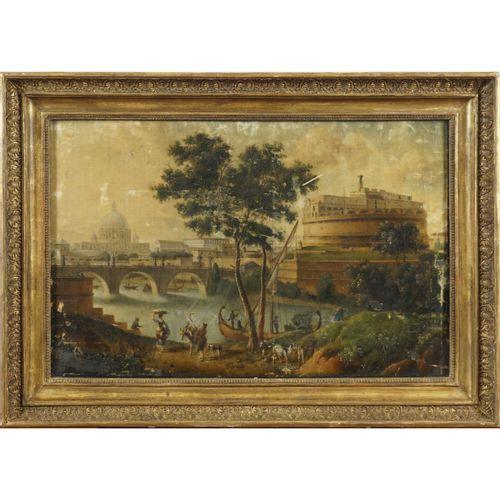"""Roman painter XIX Century 56x84 cm """"Vue du Castel Sant'Angelo"""", peinture sur tis…"""