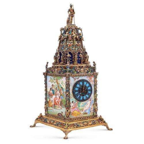 Silver an polychrome enamel mantel clock Vienna 19th century h. 29,5 cm. 五角形主体上釉…