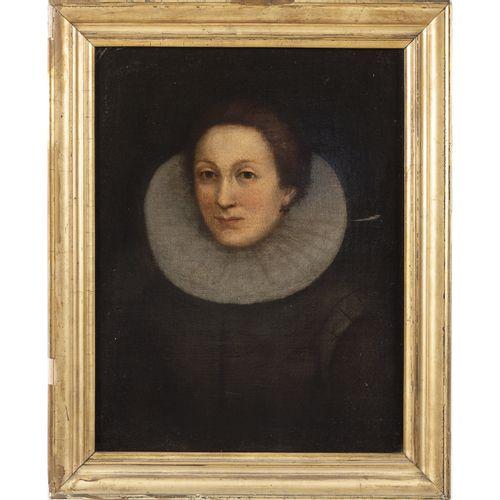 """Roman school 17th century 62x48 cm. """"Portrait d'une femme avec une collerette"""", …"""