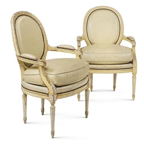 """A pair of armchairs in lacquered wood """"Louis XVI"""" France, beginning of the 20th …"""