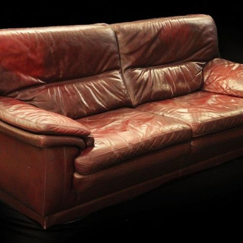BURGUNDY PATINA LEATHER SOFA