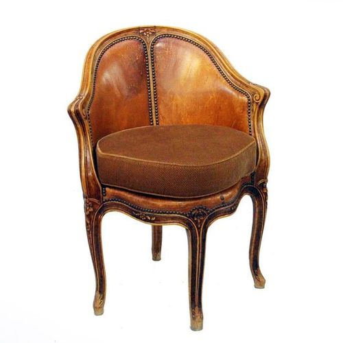 OFFICE ARMCHAIR STYLE LOUIS XV CARVED BEECHWOOD WITH FLOWERS DECORATION SEAT AND…