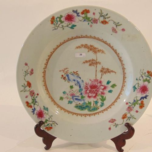 CHINE Pair of dishes and suite of eight plates decorated with flowers, rocks and…