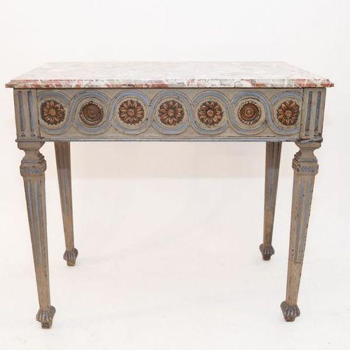 Table console de style Louis XVI ouvrant par deux tiroirs latéraux en ceinture, …