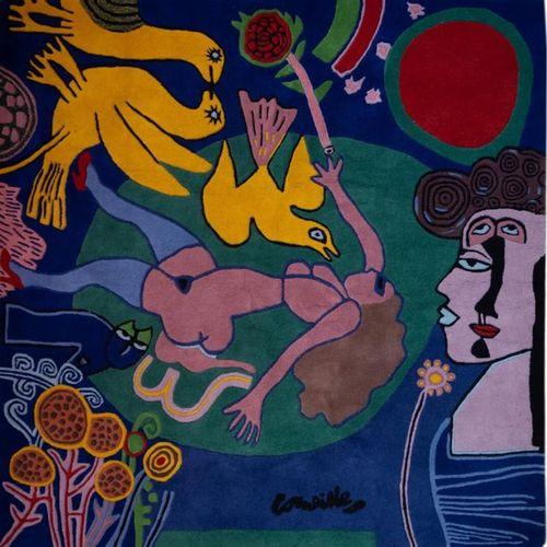 CORNEILLE (1922 2010). Femme à la fleur, 2000 Tapisserie en laine. 205 x 208,5 c…