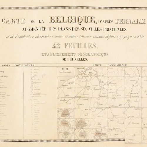 VANDERMAELEN, Philippe] Map of Belgium, after Ferraris, augmented with the plans…