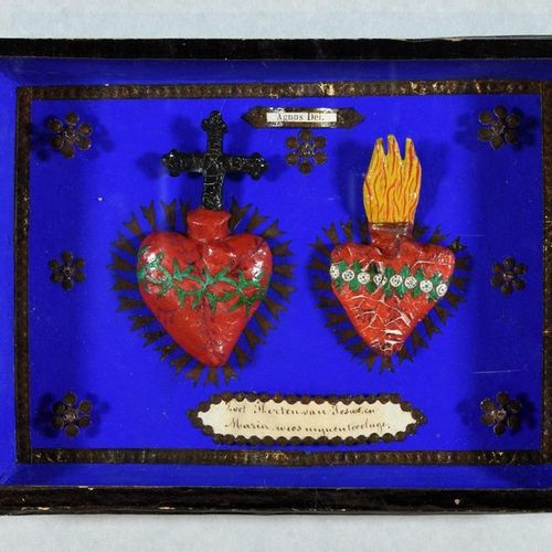 6 pieces under frames. 1. Virgin and Child (with St. John the Baptist?). Sculptu…