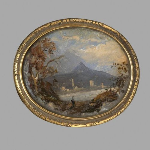 Fixed under glass representing a mountain landscape, bordered by a lake, animate…