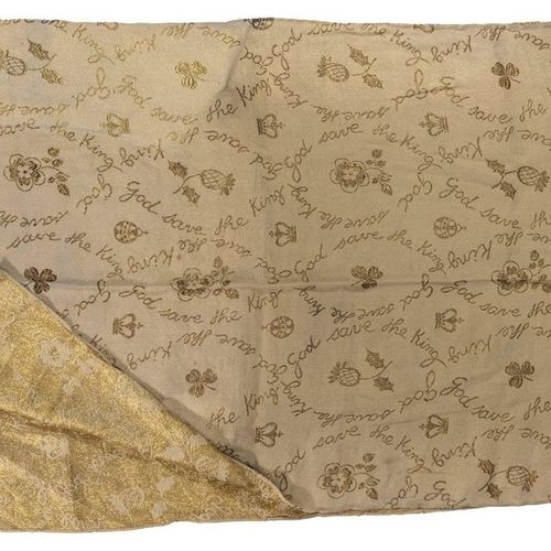 Sacre de George VI d'Angleterre. 1937.  Fragment d'étoffe en soie brodée d'or o…