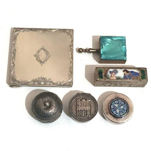 Silver lot including a rectangular powder case with foliage motifs on a guilloch…