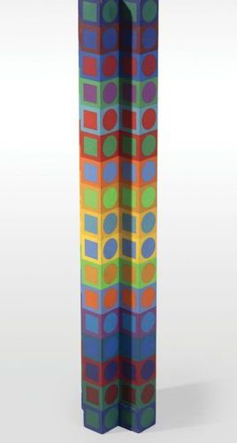 Victor VASARELY (1906 1997).  Iboya MC12, 1970.  Column sculpture in coloured …