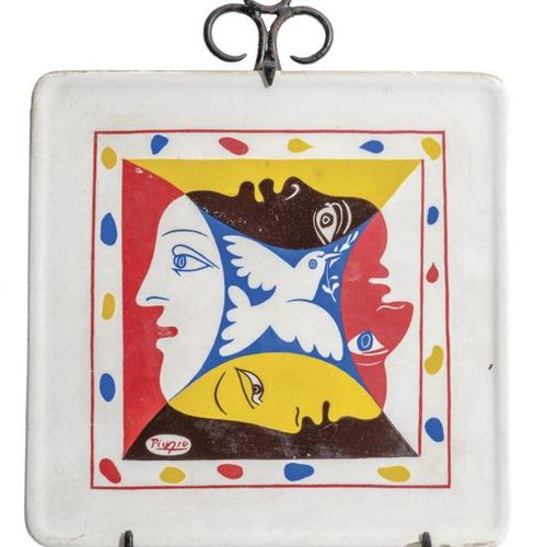 According to Pablo PICASSO.  Polychrome earthenware trivet for the World Festiv…